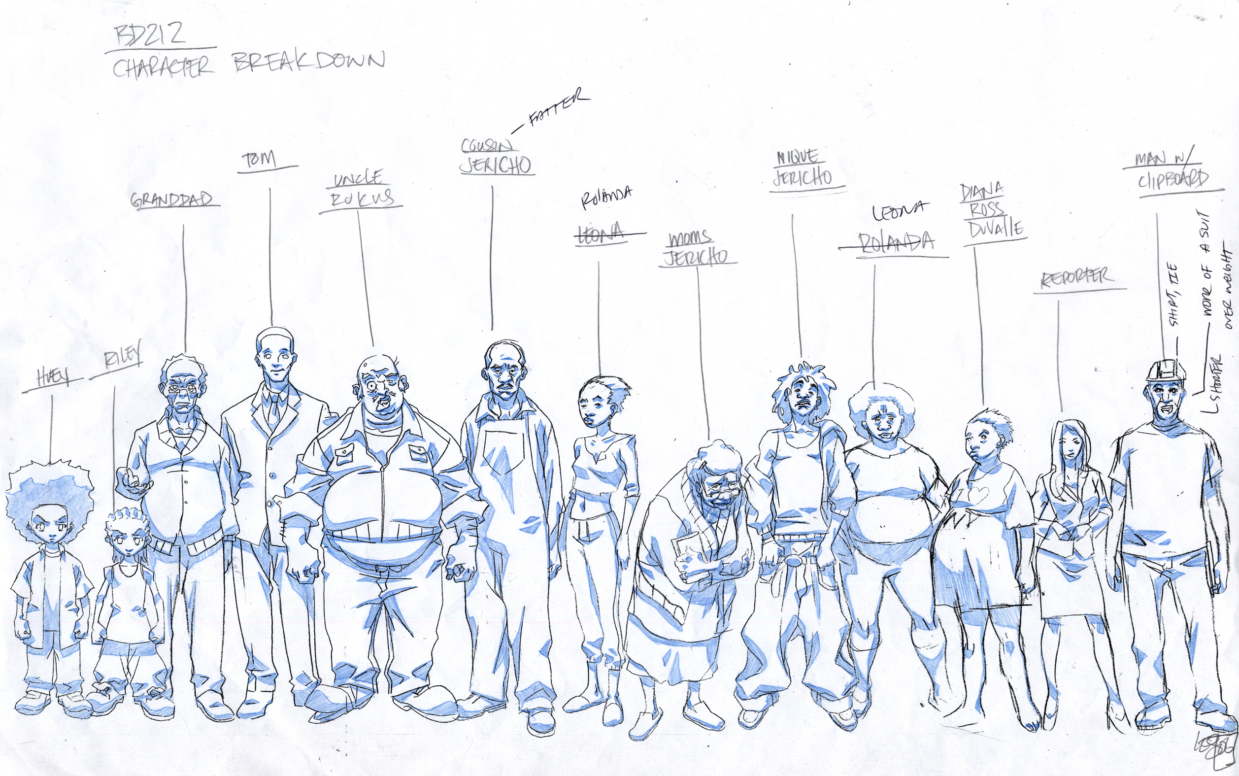 Drawing Animation Character Design : Boondocks production art the katrinians of lesean