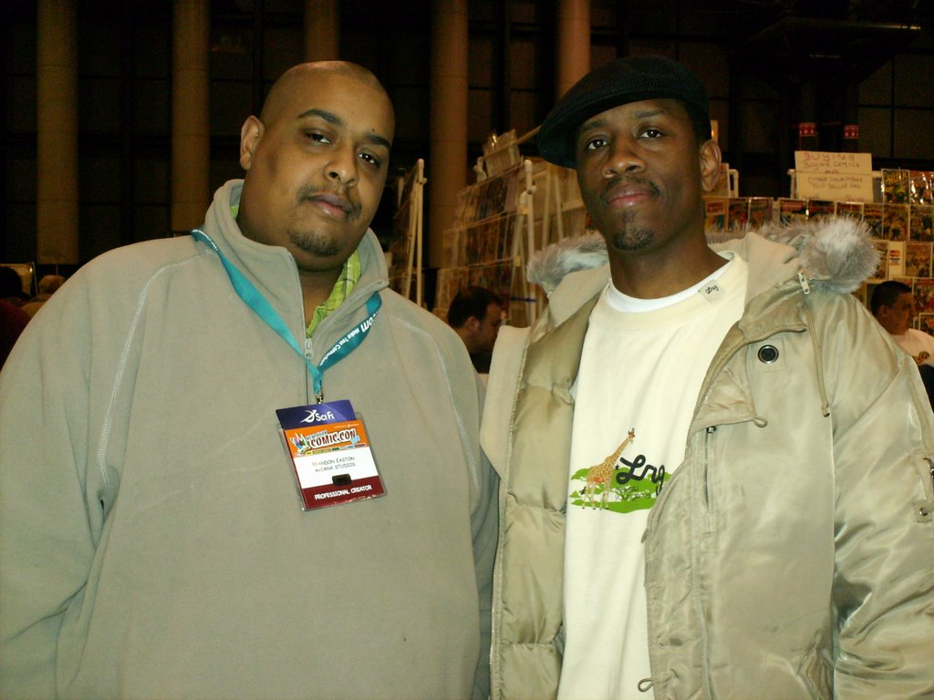 Me and Arkanium writer and old pal, Big Homie Brandon Easton.